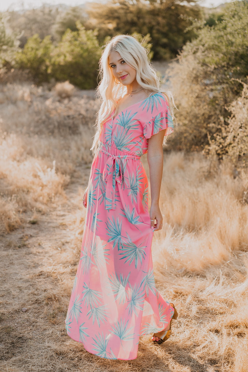 The Bahamian Tropical Print Dress in Pink