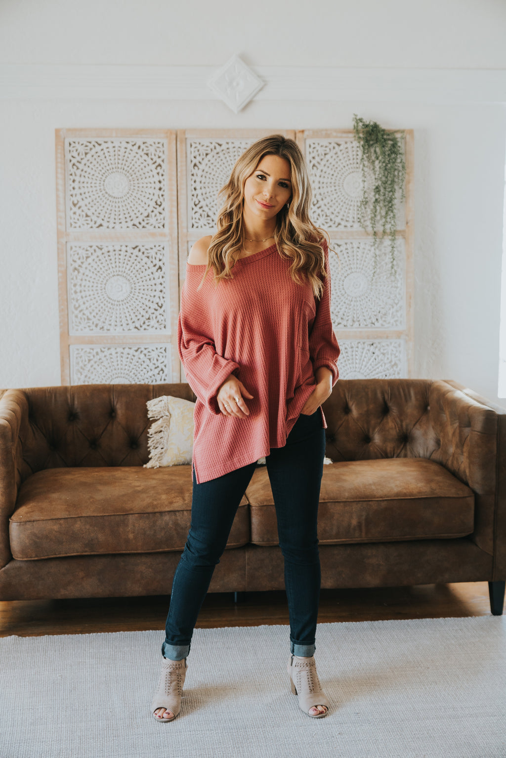 The Bijou Waffle Knit Top in Rose (Sizes S-2X)