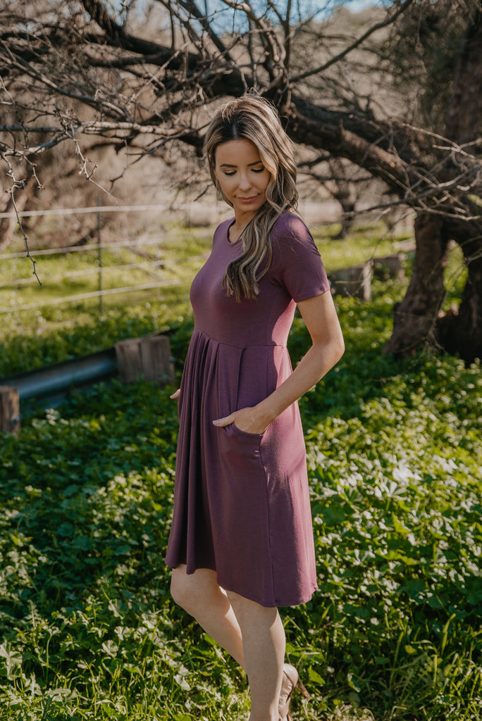 WI Basics: The Alys Pleated Dress in Eggplant (Sizes S-3X)