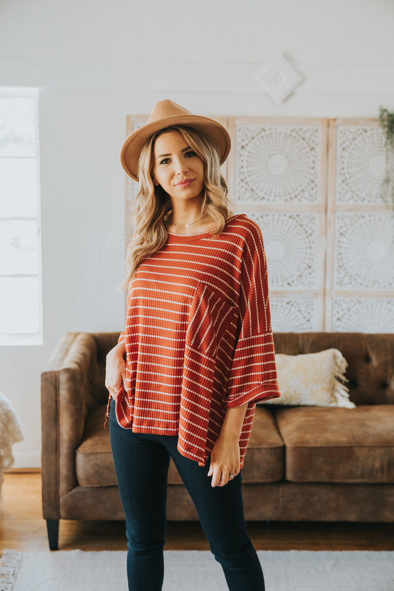 The Vermont Striped Top in Pumpkin Spice