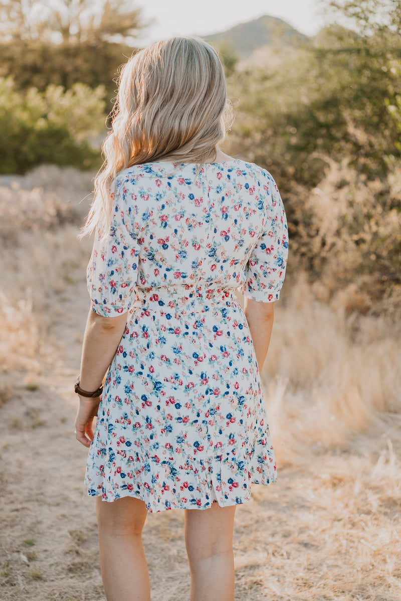The Chrysalis Floral Mini Dress in Ivory
