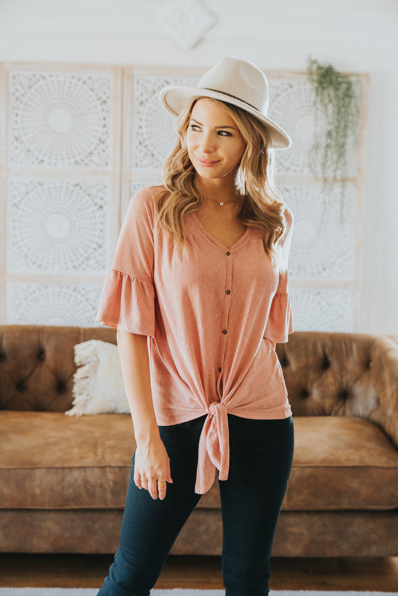 The Justina Button Top in Mauve