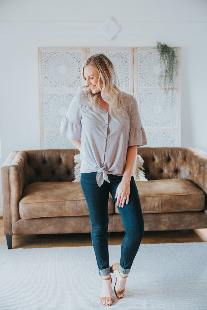 The Justina Button Top in Gray