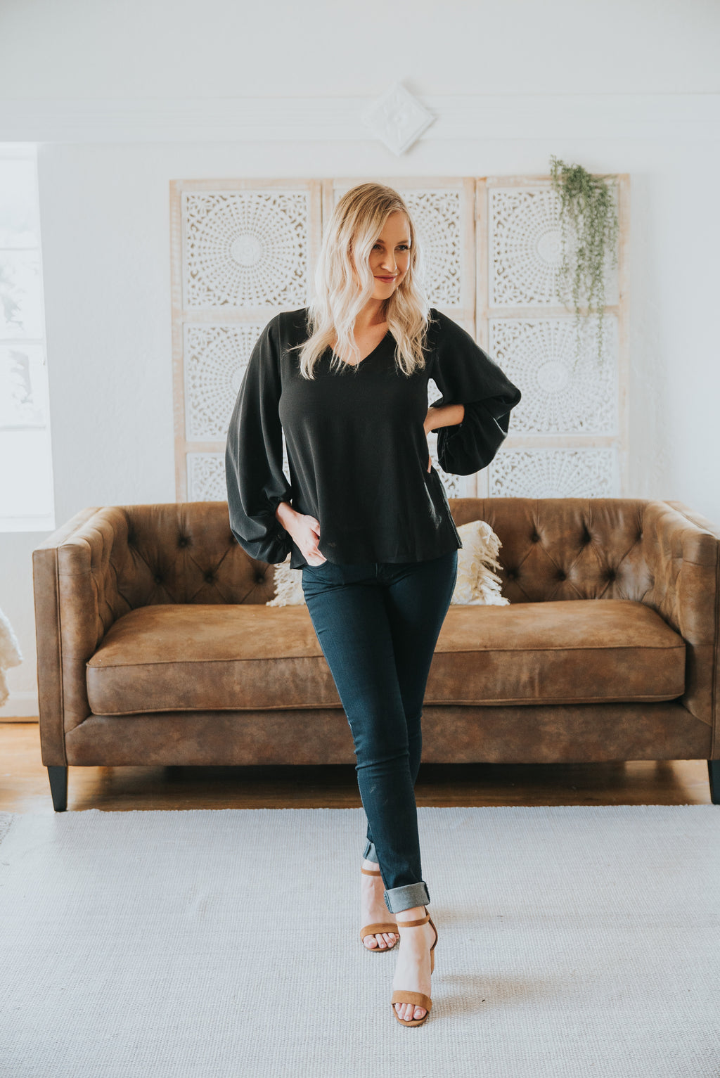 The Vista V-Neck Blouse in Black