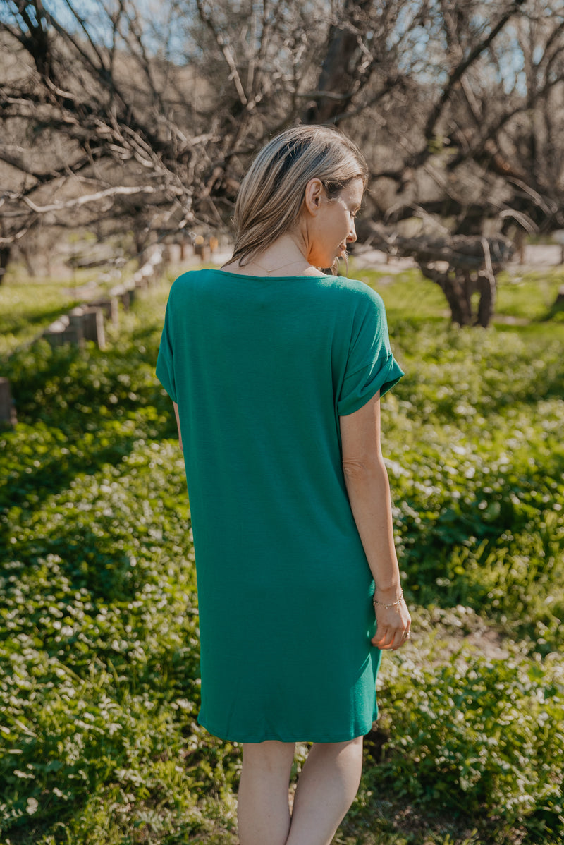 WI Basics: The Kala Cuff Sleeve Dress In Emerald
