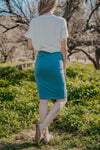 WI Basics: The Idra Pencil Skirt in Dusty Blue