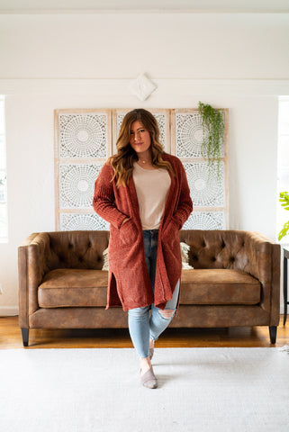 WI Basics: The Kira Cardigan in Fired Brick (Sizes S-3X)
