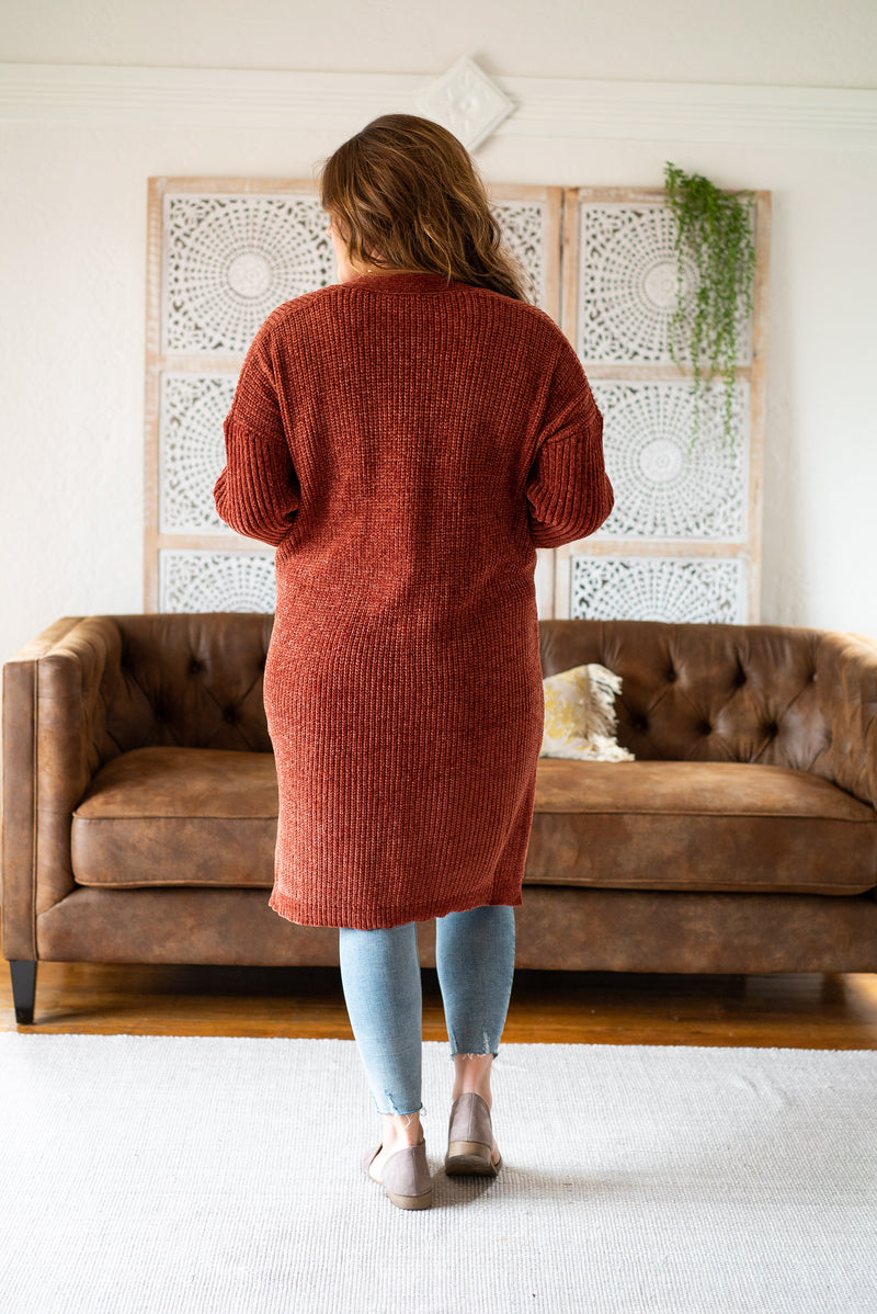 The Cleo Chenille Cardigan in Pumpkin Spice (Plus Sizes)