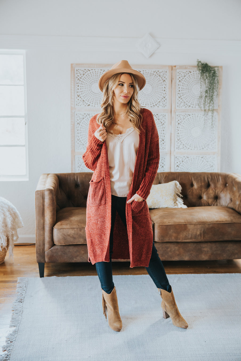 The Cleo Chenille Cardigan in Pumpkin Spice