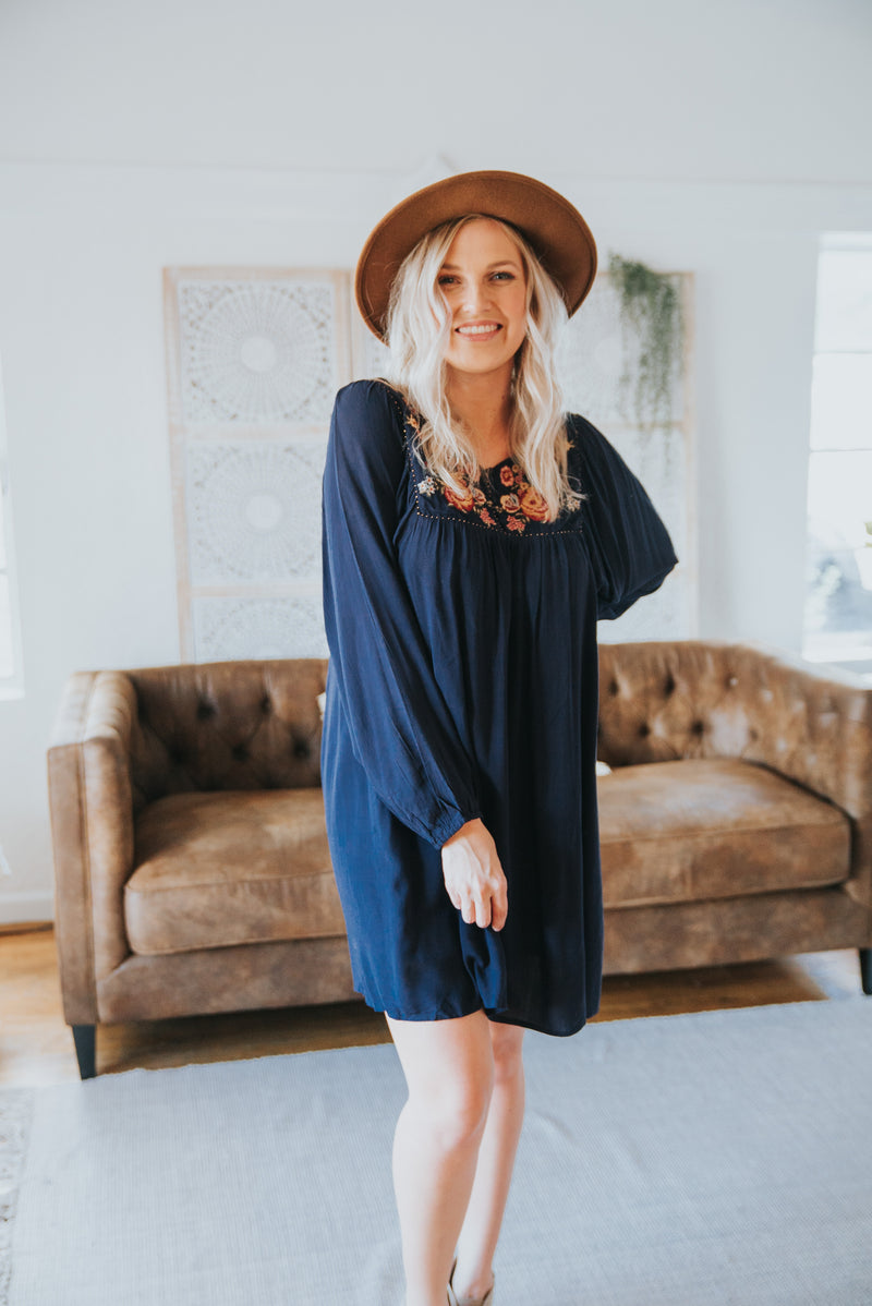 The Melina Embroidered Dress in Navy