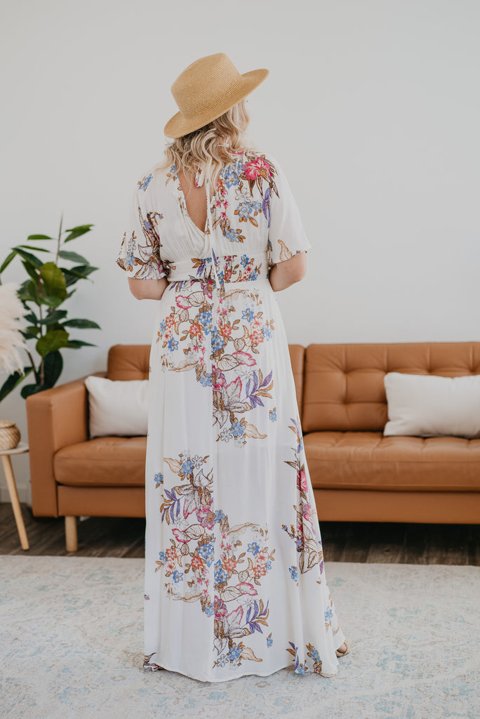 The Malakai Floral Print Maxi in Ivory, maxi dress, Nursing Friendly, Baby Bump Friendly, lined, open back, fashion, Wren & Ivory, Wren and Ivory, dolman sleeves, smocked waist, floral print, side slits, plus sizes