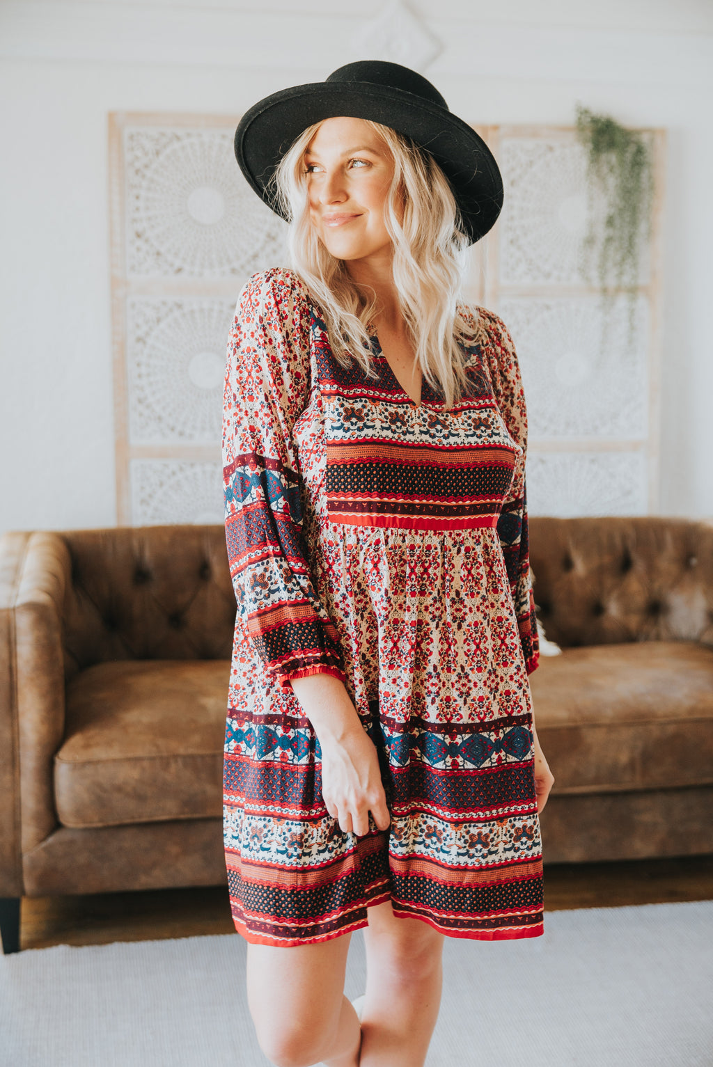 The Voyage Mixed Print Dress in Red