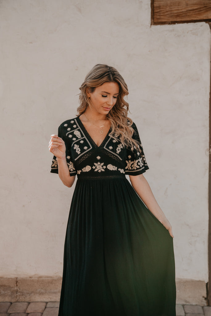 The McGee Embroidered Dress in Black