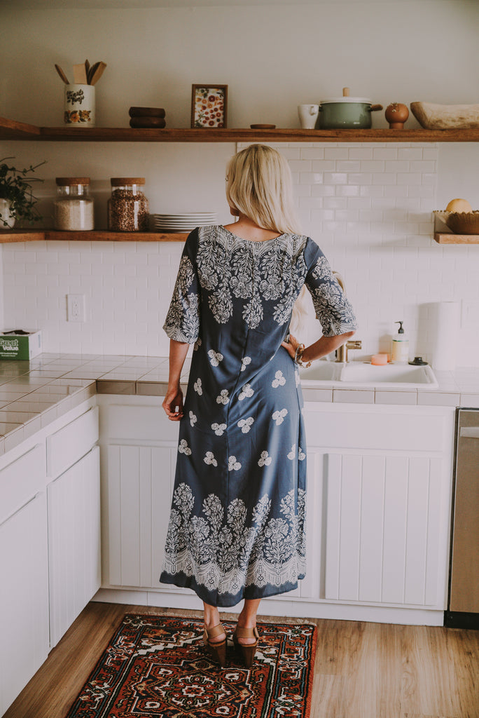 The Nakia Midi in Dusty Blue