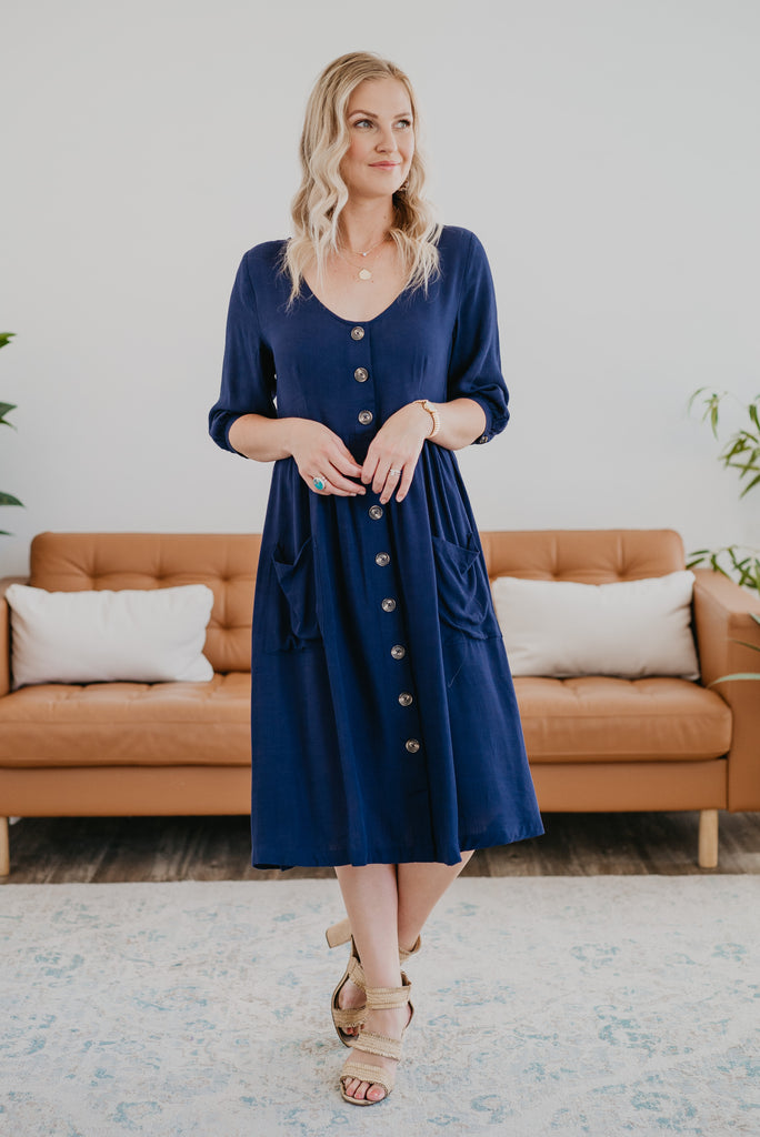 The Remington Button Midi in Navy (Sizes S-3X)