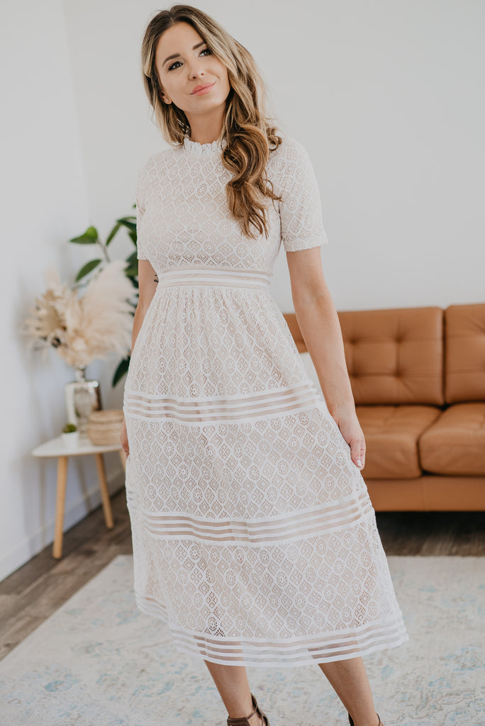 The Drysdale Lace Midi, beautiful lace dress, Baby Bump Friendly, midi dress, ivory dress, banding and lace, fashion, flattering fit, Wren & Ivory, Wren and Ivory, summer dress, mock neck, short sleeve, elegant