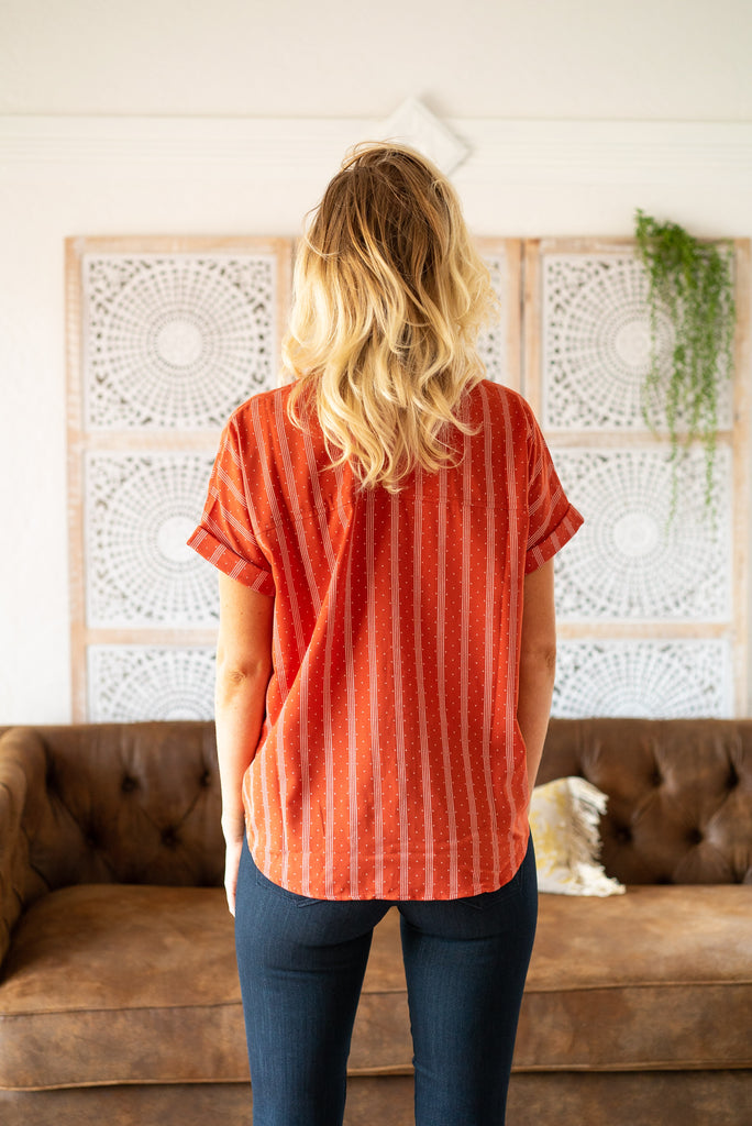 The Korie Button Top in Rust