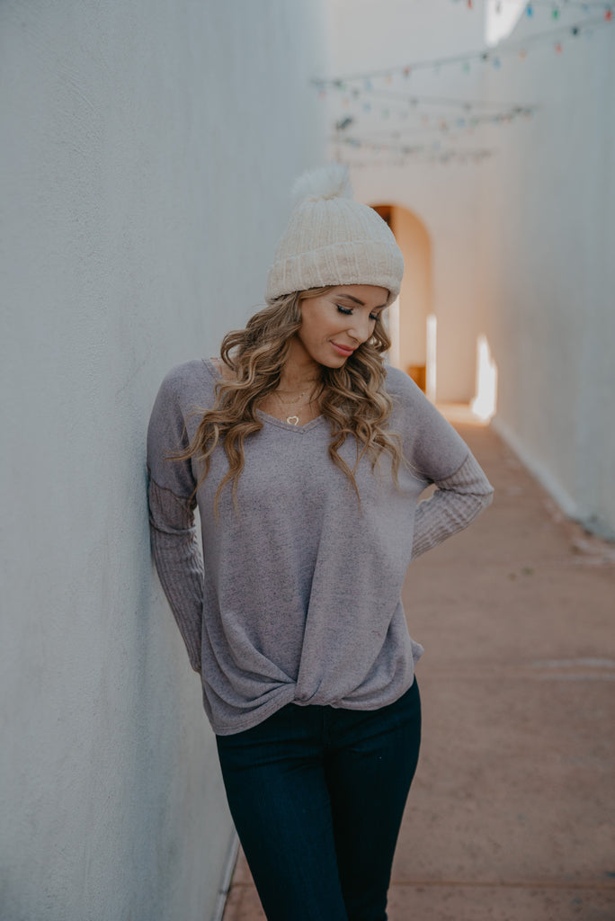 The Katriel Waffle Knit Top in Taupe