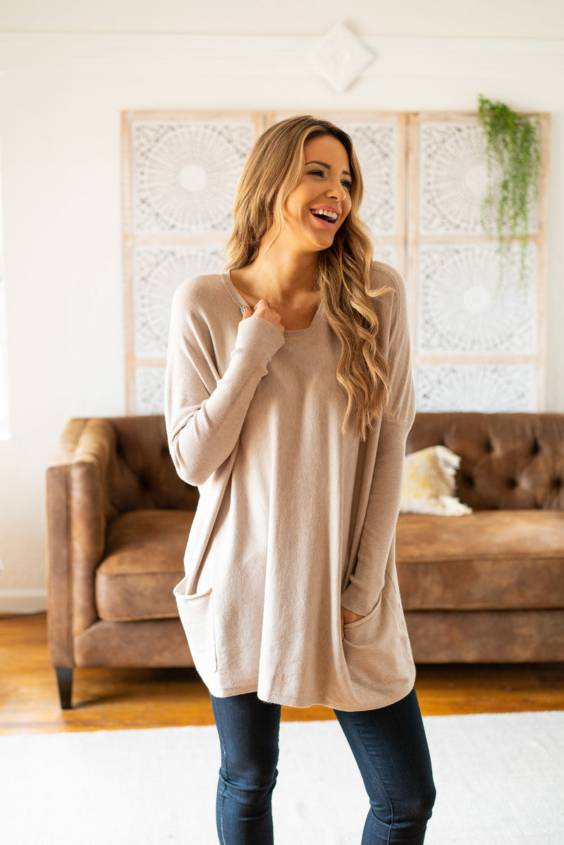 The Freya Solid Sweater in Warm Grey