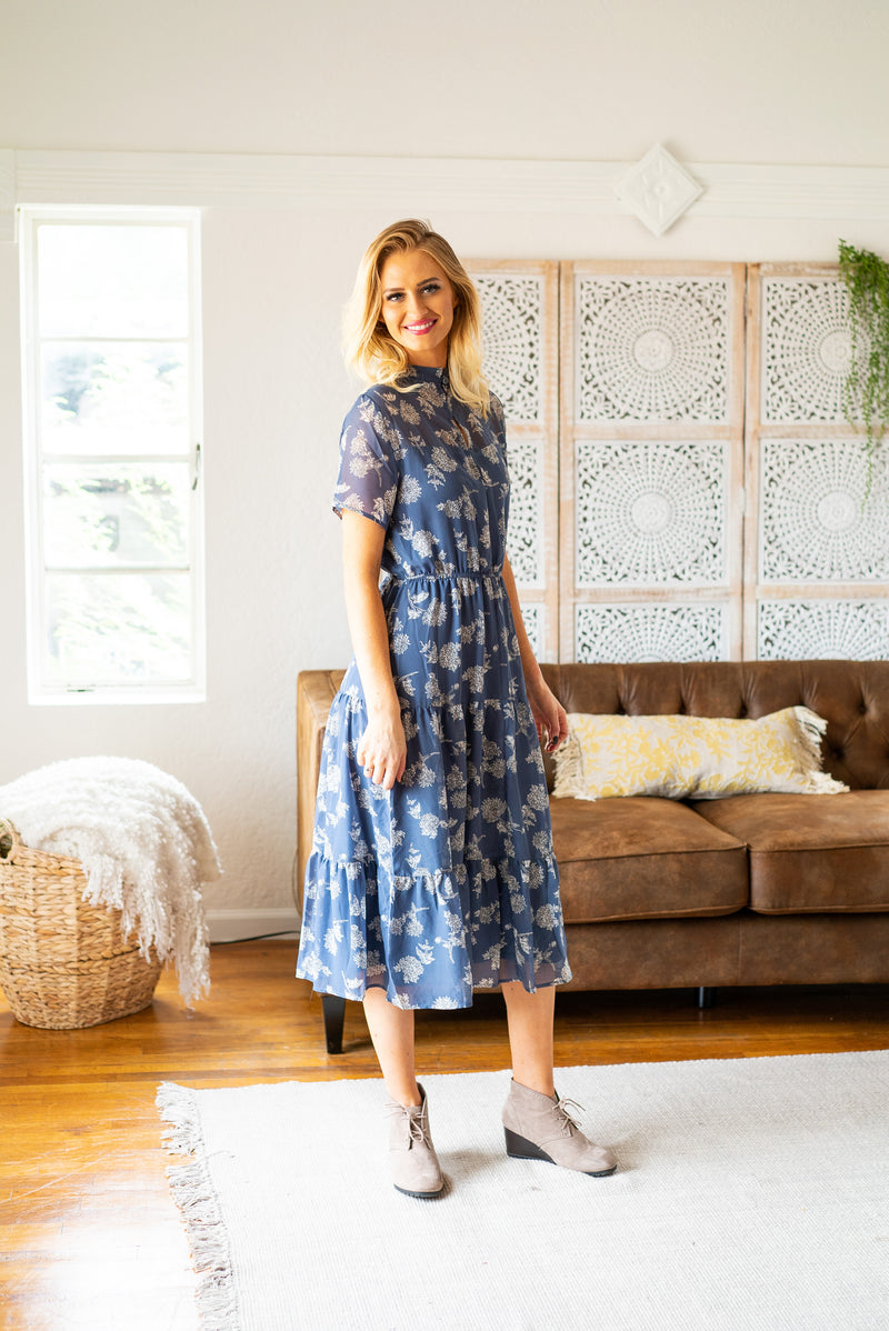 The Esmé Floral Midi in Dusty Blue