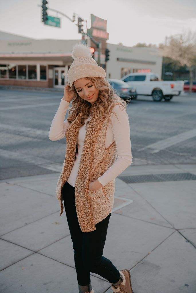 The Bristol Sherpa Vest in Camel (Sizes S-3X)