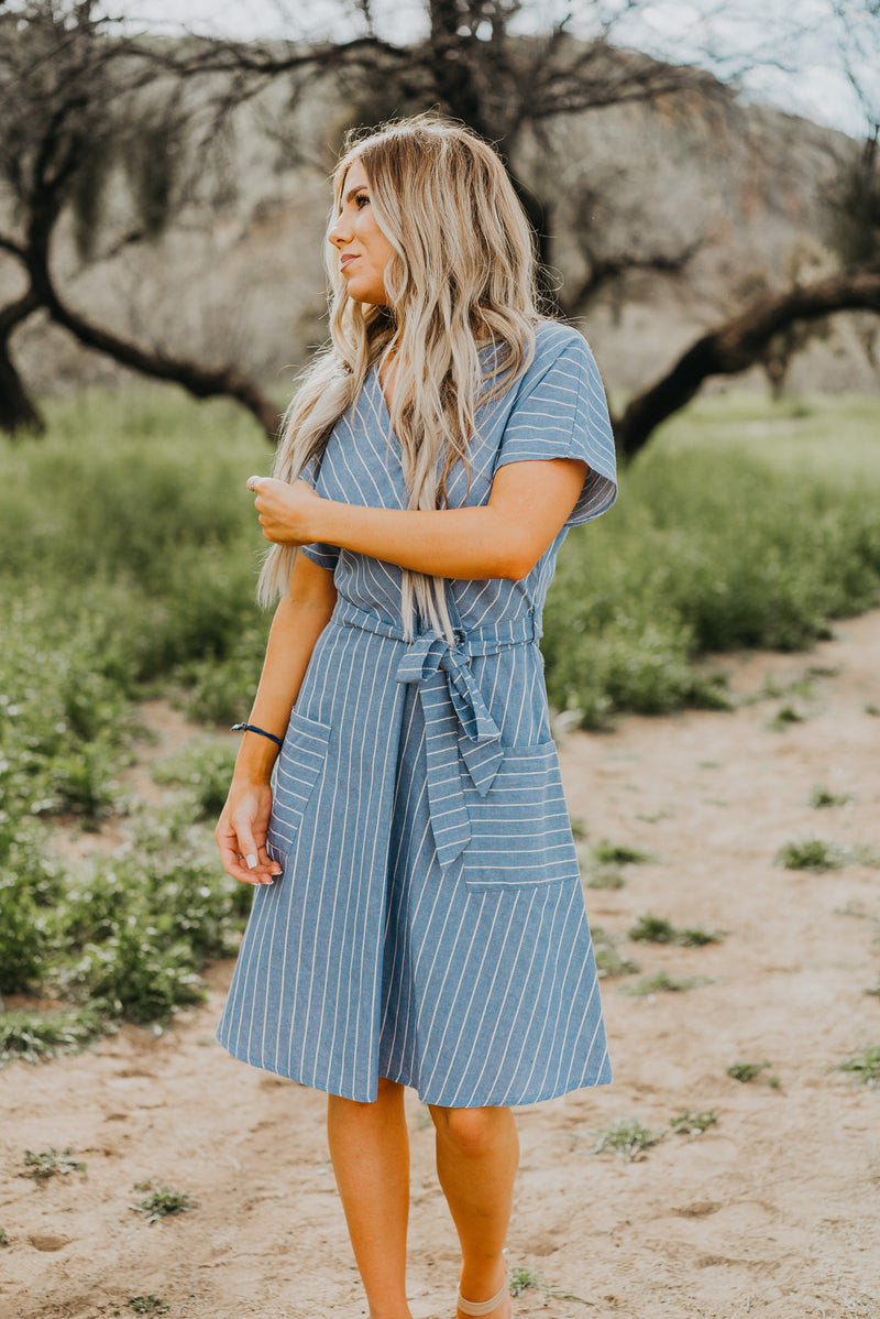 The Oceanside Striped Dress in Dusty Blue (Sizes S-3X)