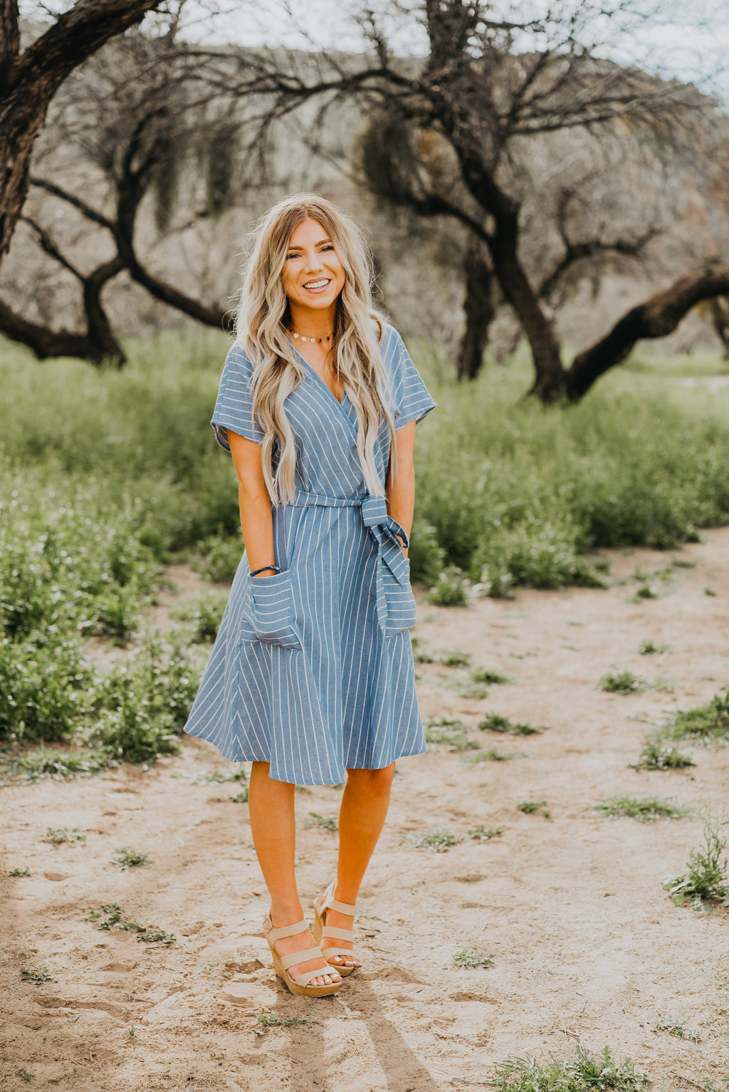 The Oceanside Striped Dress in Dusty Blue