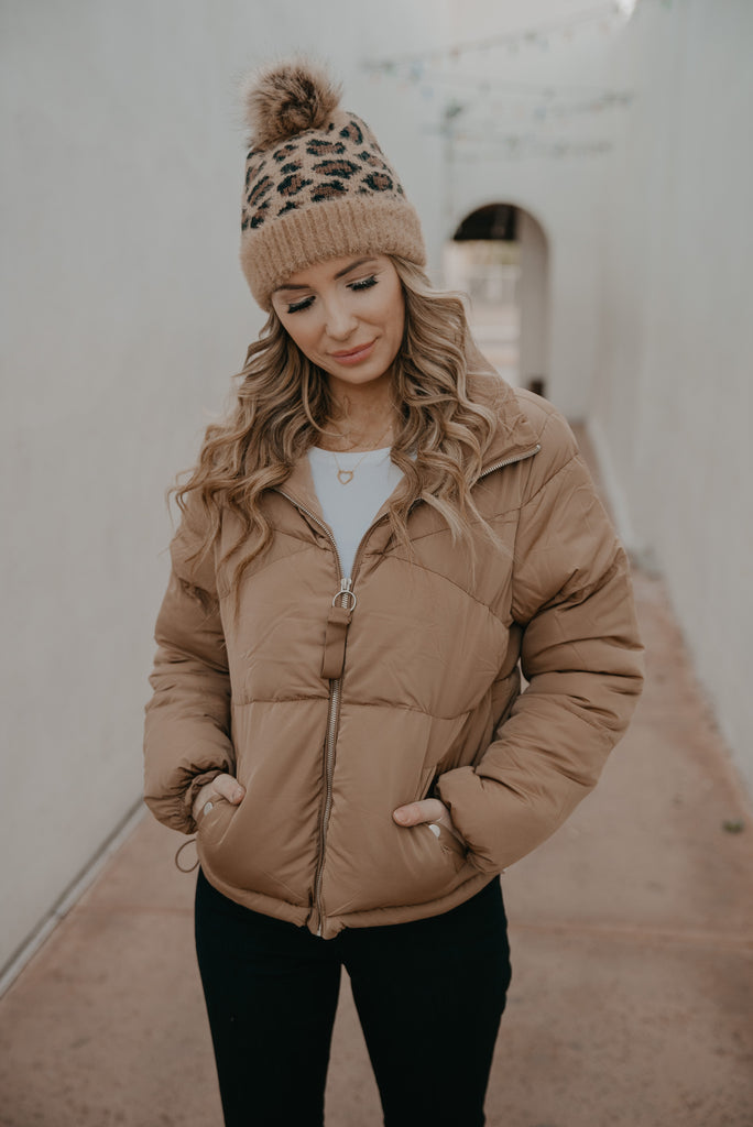 The Mateo Puffer Jacket in Camel