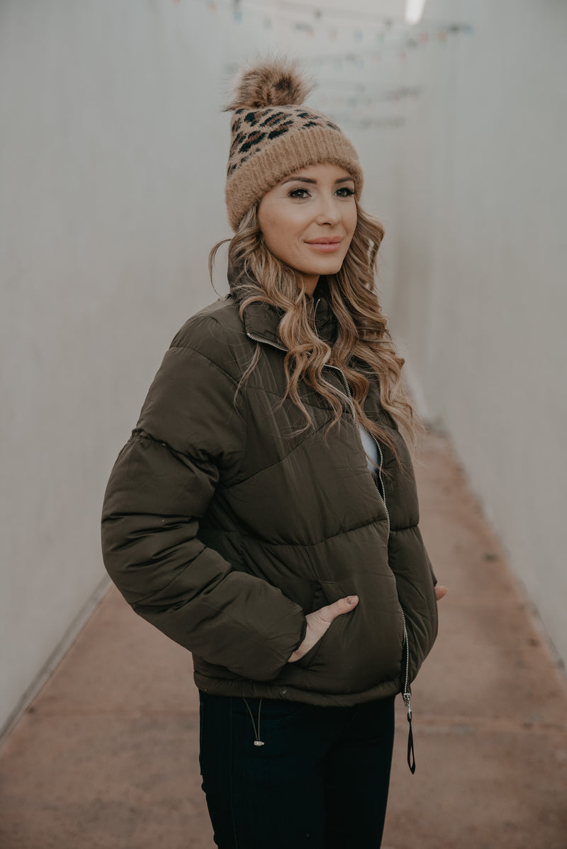 The Mateo Puffer Jacket in Olive