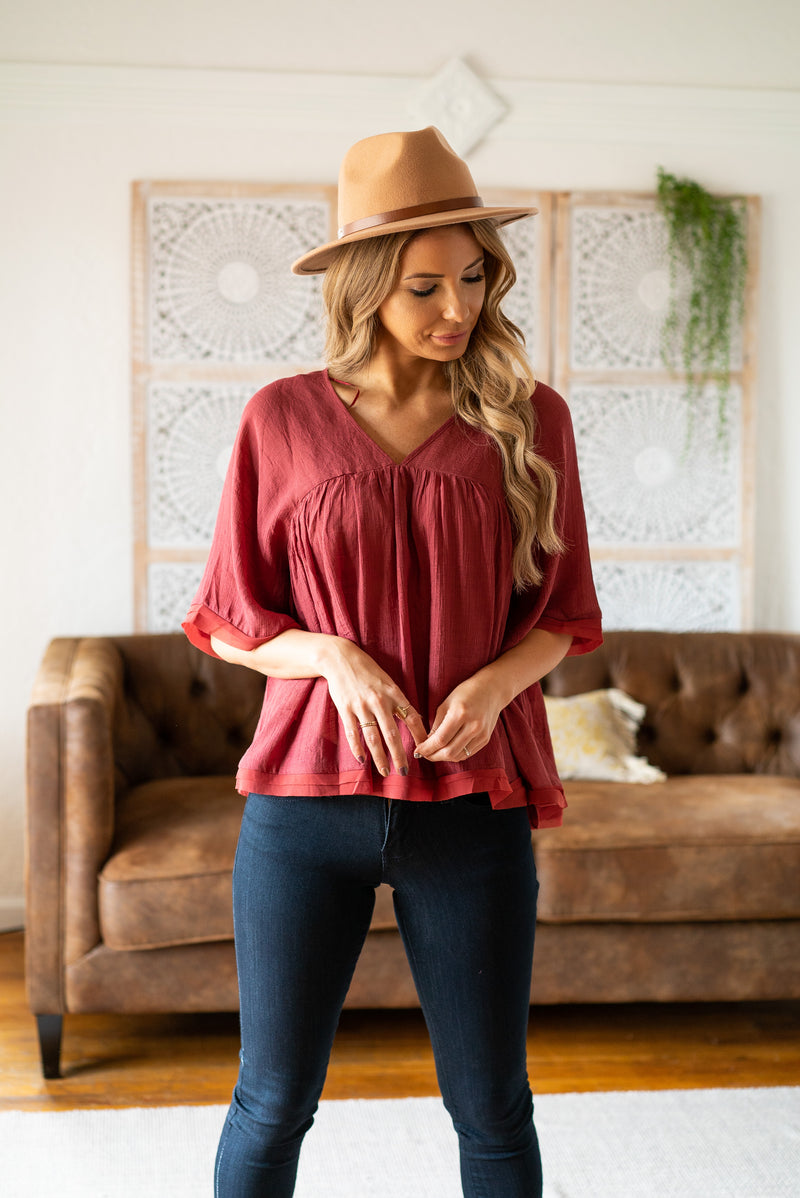 The Silea Top in Berry
