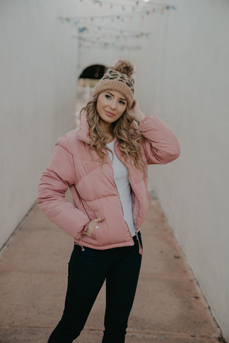The Mateo Puffer Jacket in Mauve