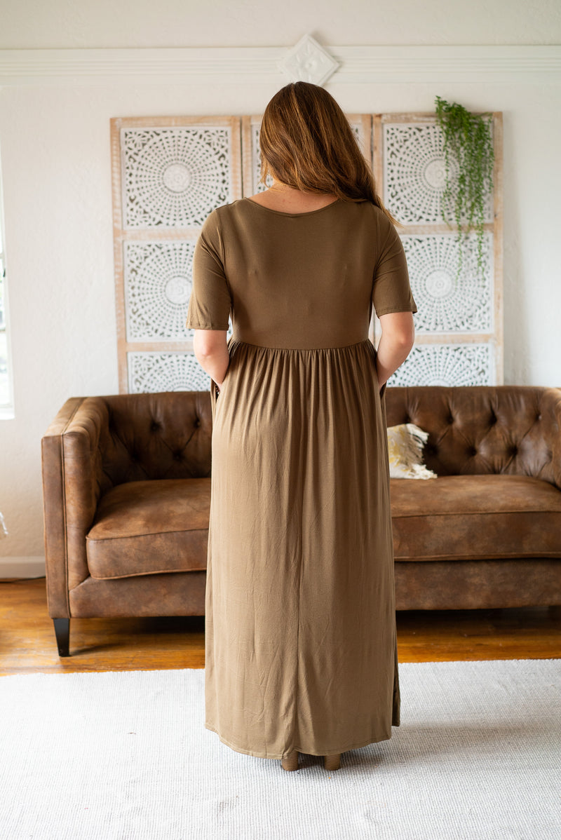 WI Basics: The Vega Solid Maxi in Olive (Sizes 1X-3X)