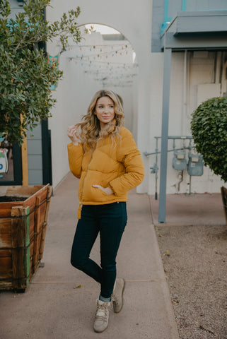 The Brooklyn Color Block Pullover in Mustard (Sizes S-3X)
