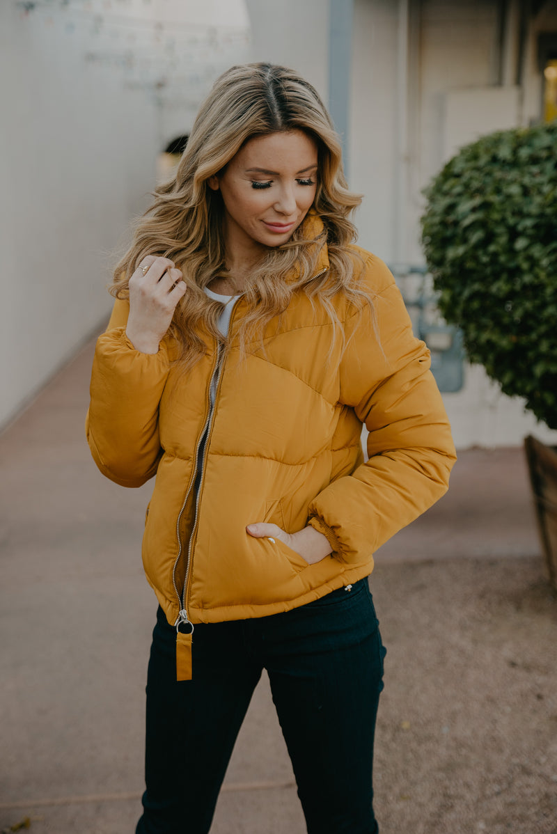 The Mateo Puffer Jacket in Mustard