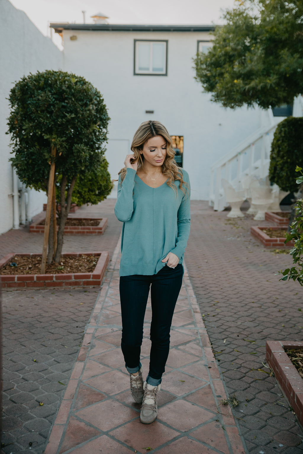 The Ashli V-Neck Sweater in Blue Sage