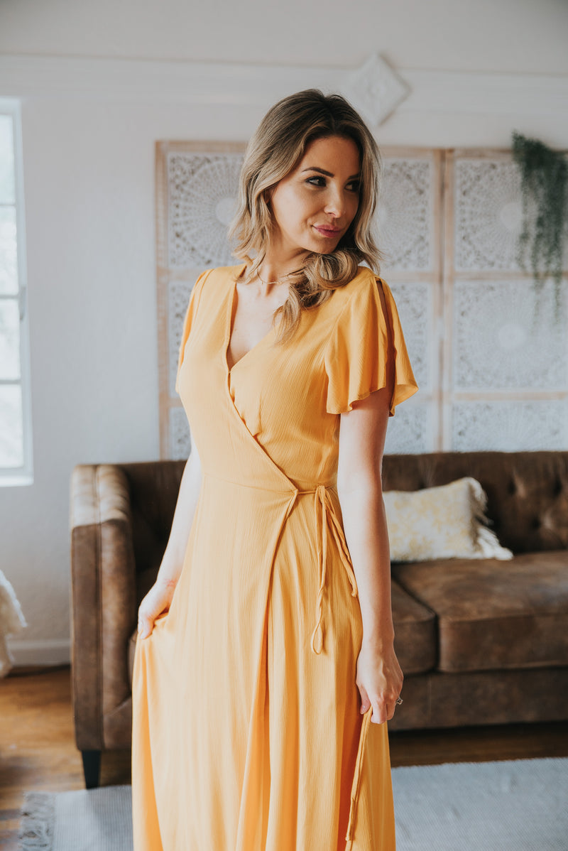 The Aurora Solid Wrap Dress in Mustard