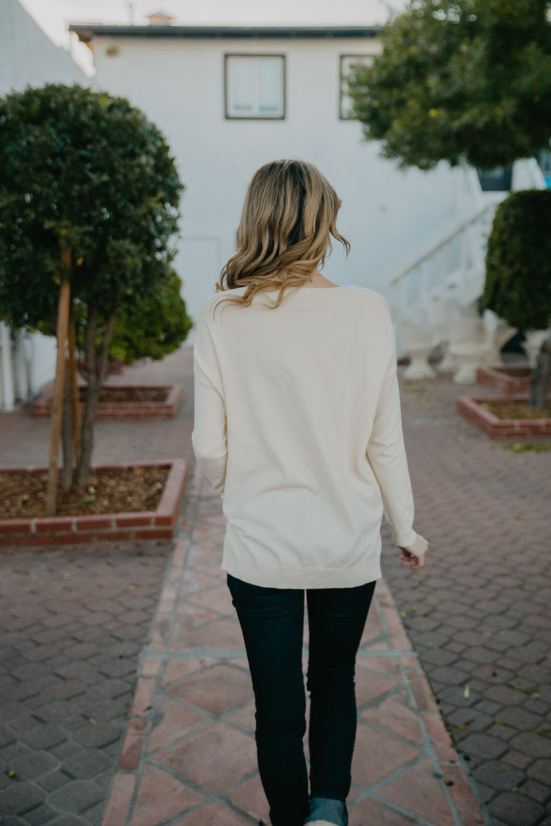 The Ashli V-Neck Sweater in Ivory