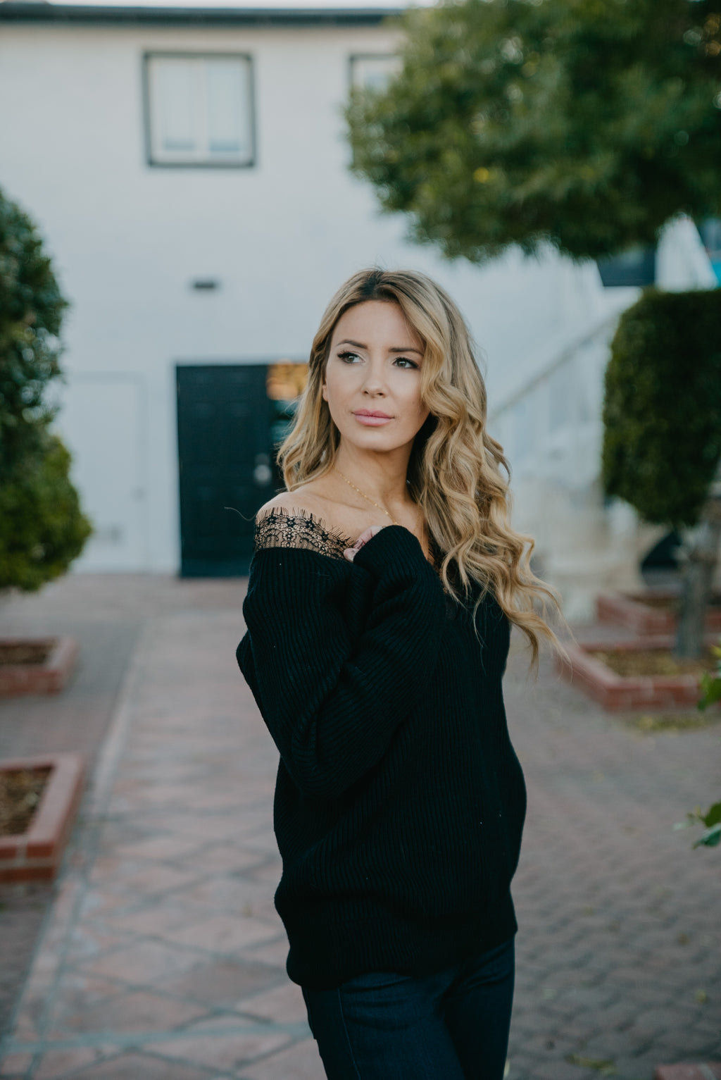 The Billie Lace Sweater in Black