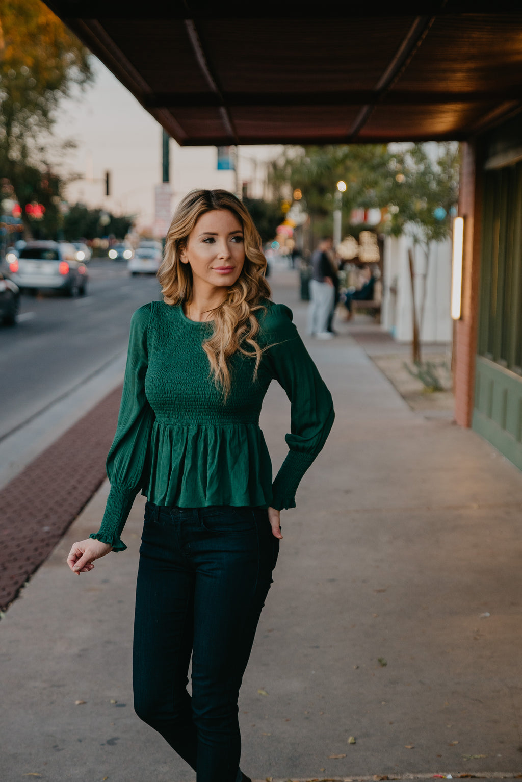 The Downtown Smocked Top in Hunter Green