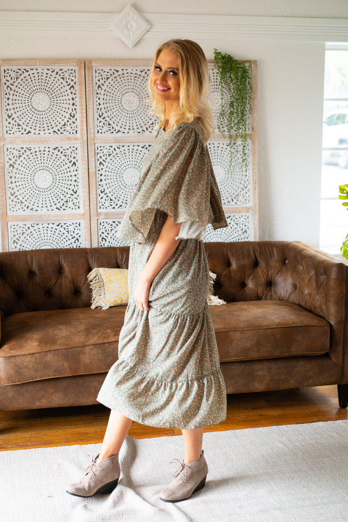 The Tiana Tiered Dress in Sage