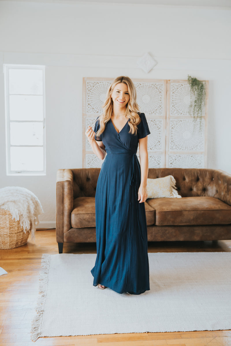 The Aurora Solid Wrap Dress in Navy