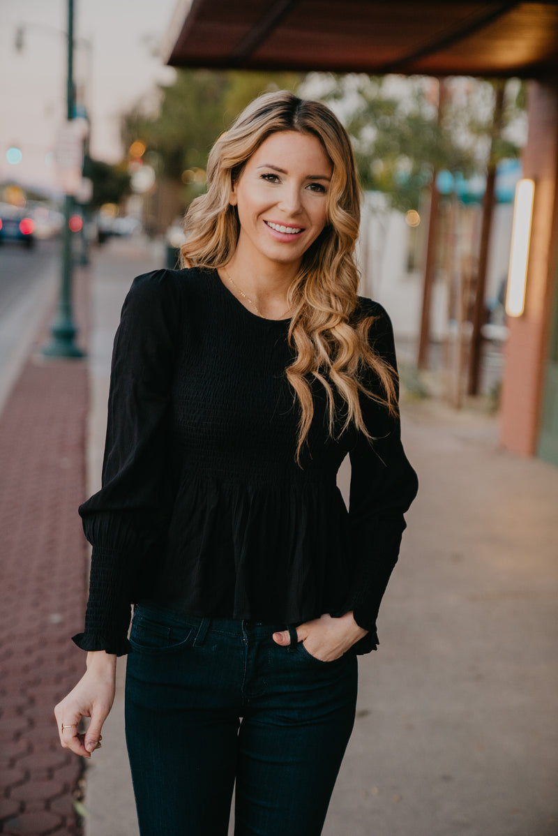 The Downtown Smocked Top in Black