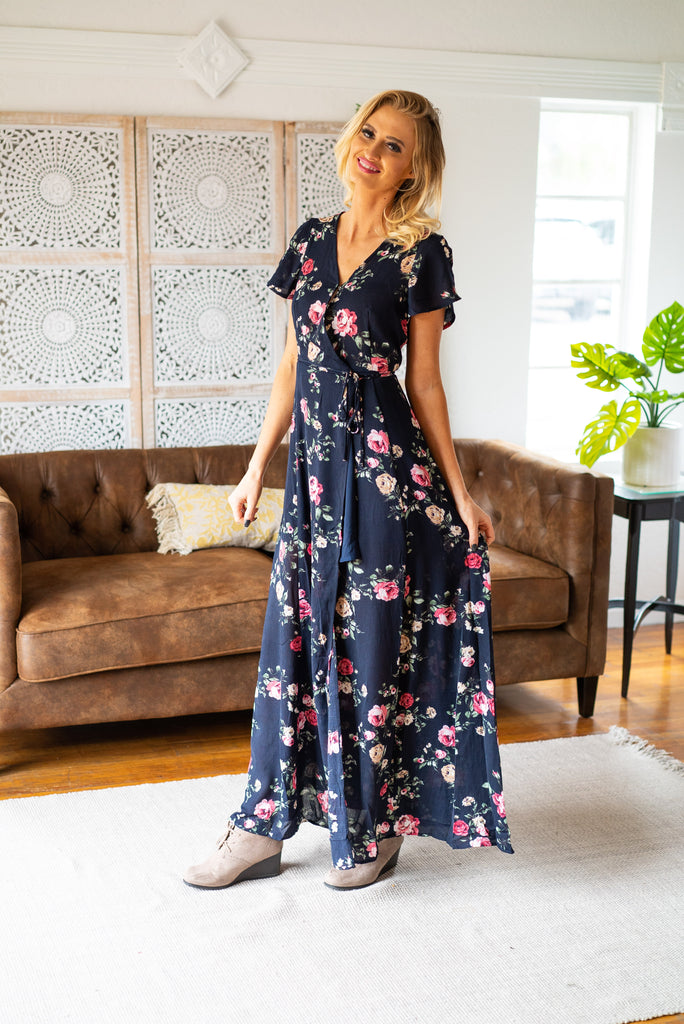 The Aurora Floral Wrap Dress in Navy