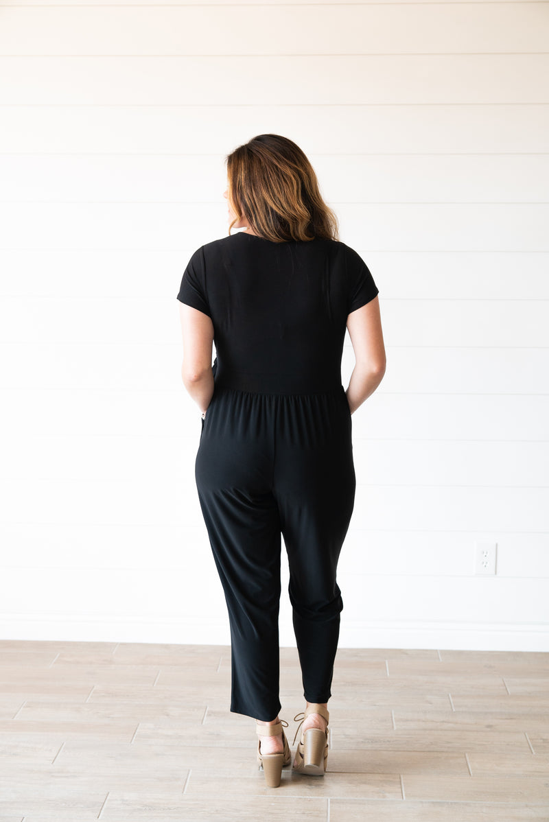 The Jett Solid Jumpsuit in Black (Sizes 1X-3X)