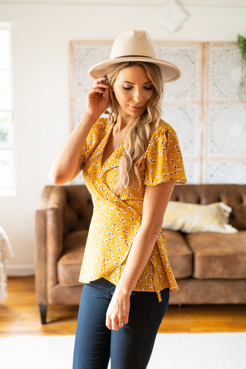The Vida Wrap Blouse in Mustard