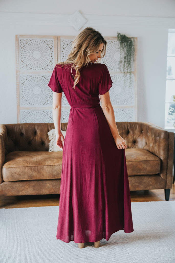 The Aurora Solid Wrap Dress in Burgundy