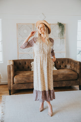 The Anya Lace Dress in Dusty Mauve