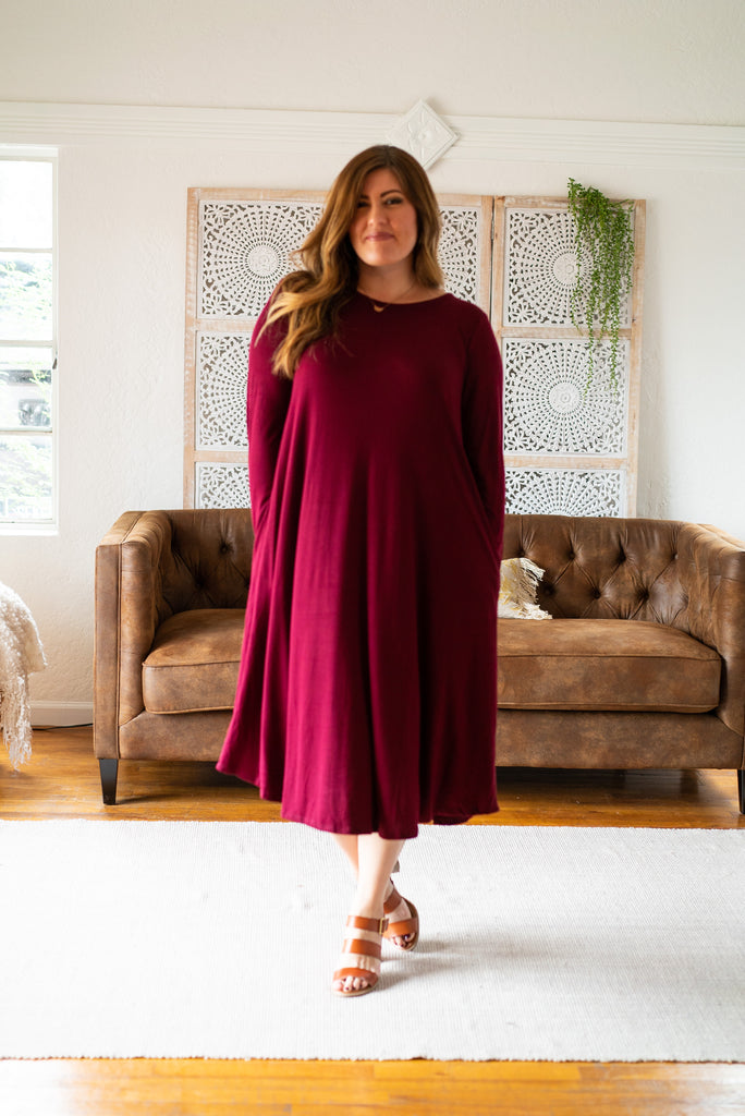 WI Basics: The Elsa Swing Dress in Wine (Sizes S-3X)