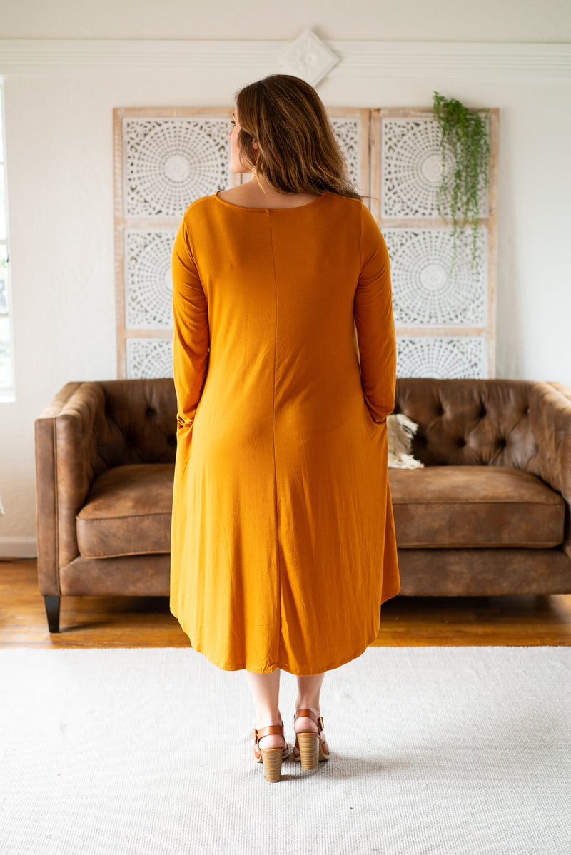 WI Basics: The Elsa Swing Dress in Mustard (Size S-3X)