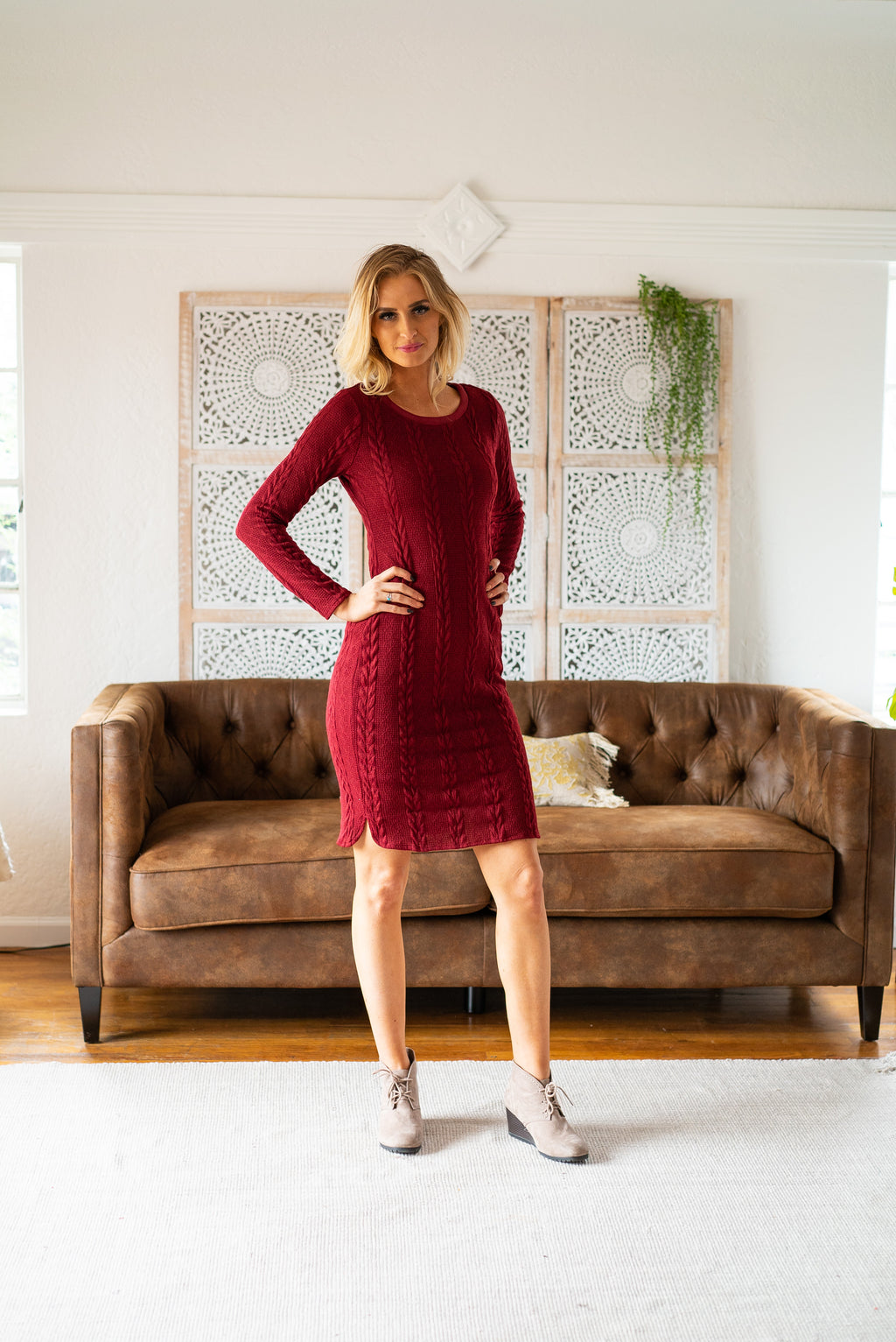 The Warwick Sweater Dress in Burgundy